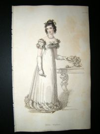 Ackermann 1821 Hand Col Regency Fashion Print. Full Dress 12-35